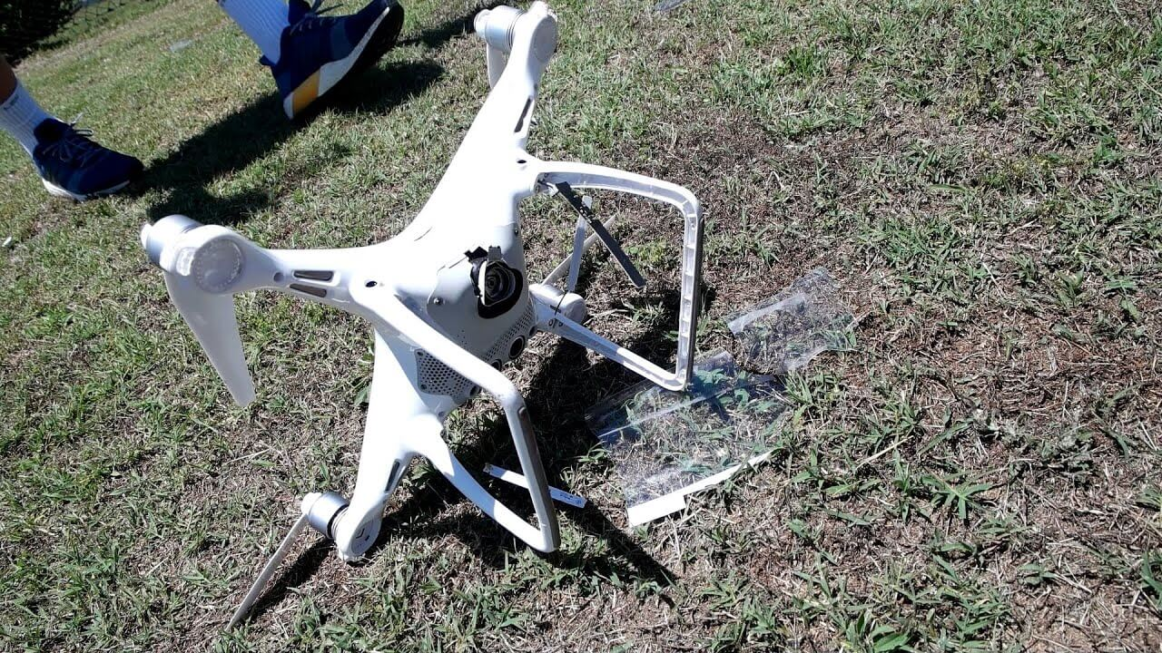 Drone lying on the ground.