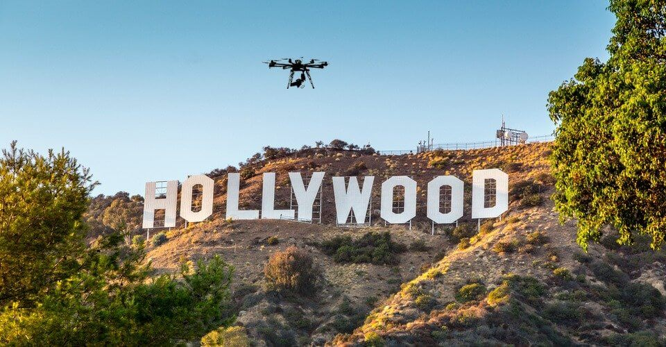 Drone flying over Hollywood/