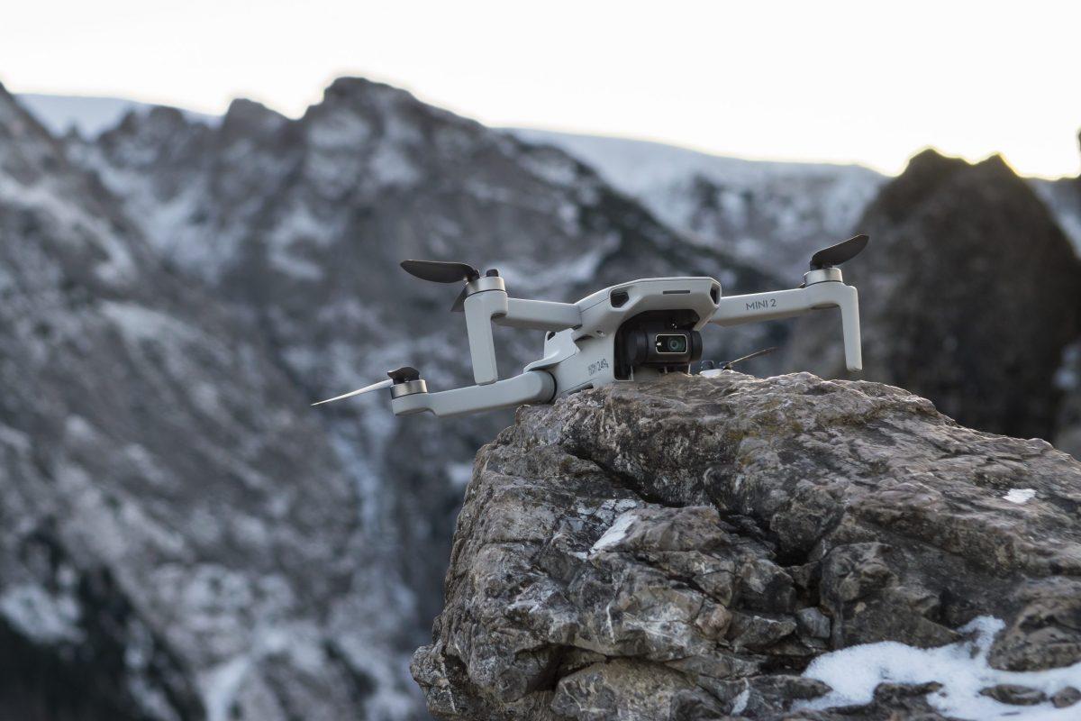 Mini 2 drone on a cliff