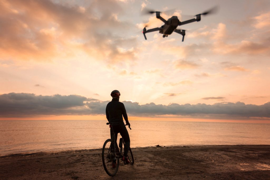 Drone following a person on a bike