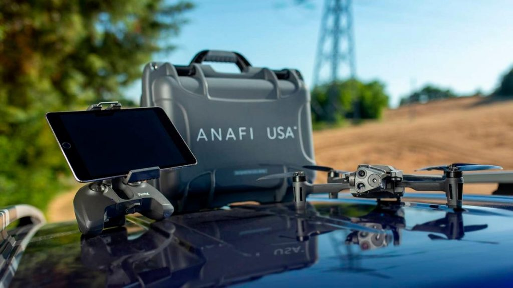 Parrot Anafi drone with its controller