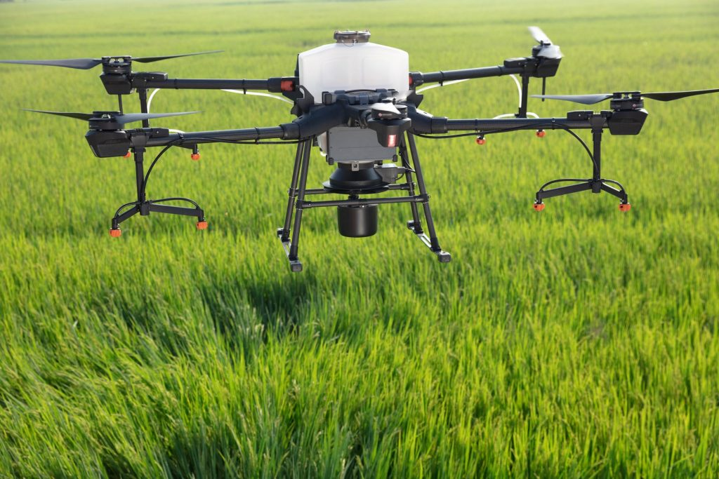 Drone above the fields