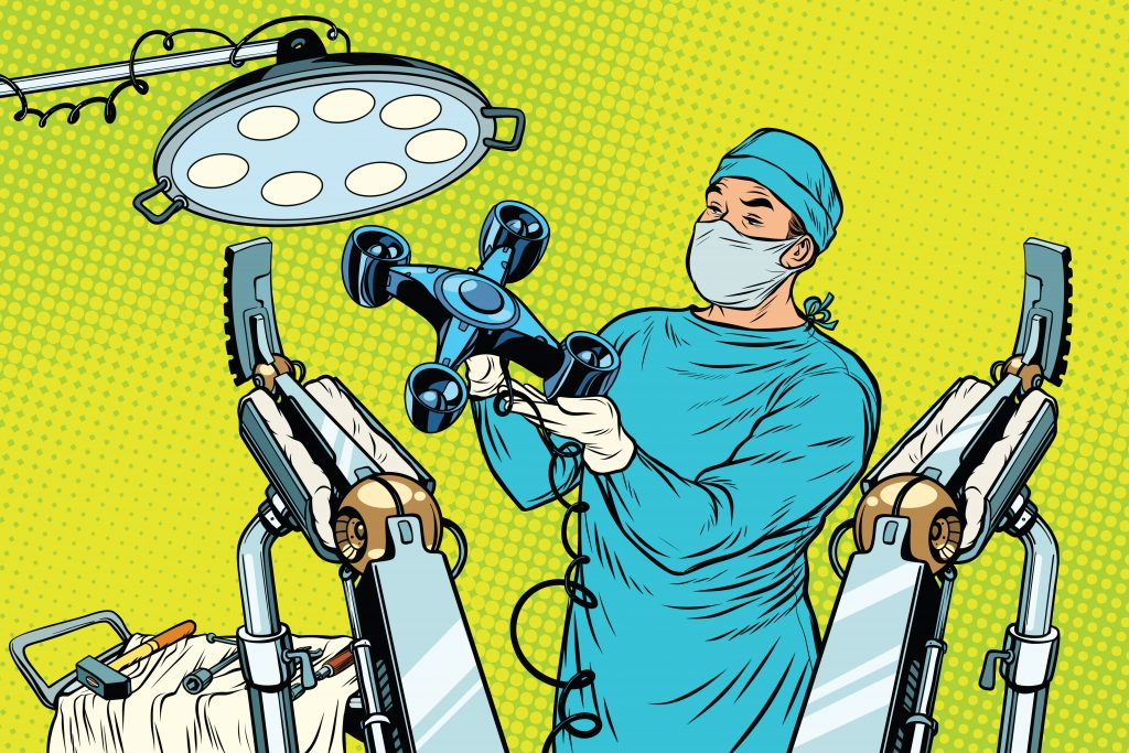 Drone and a doctor illustration