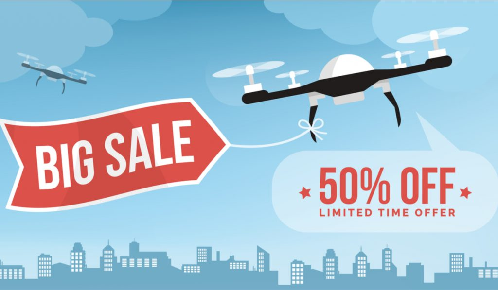 Drone carrying a shopping sale advertisement banner in the city sky