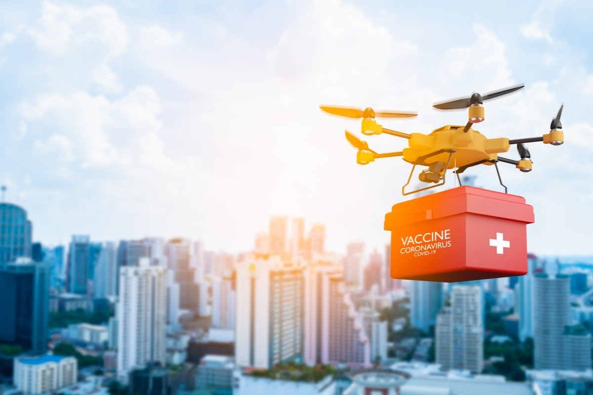 Drone flying with a red box