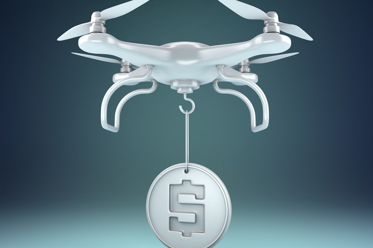 3d illustration of drone carrying mone