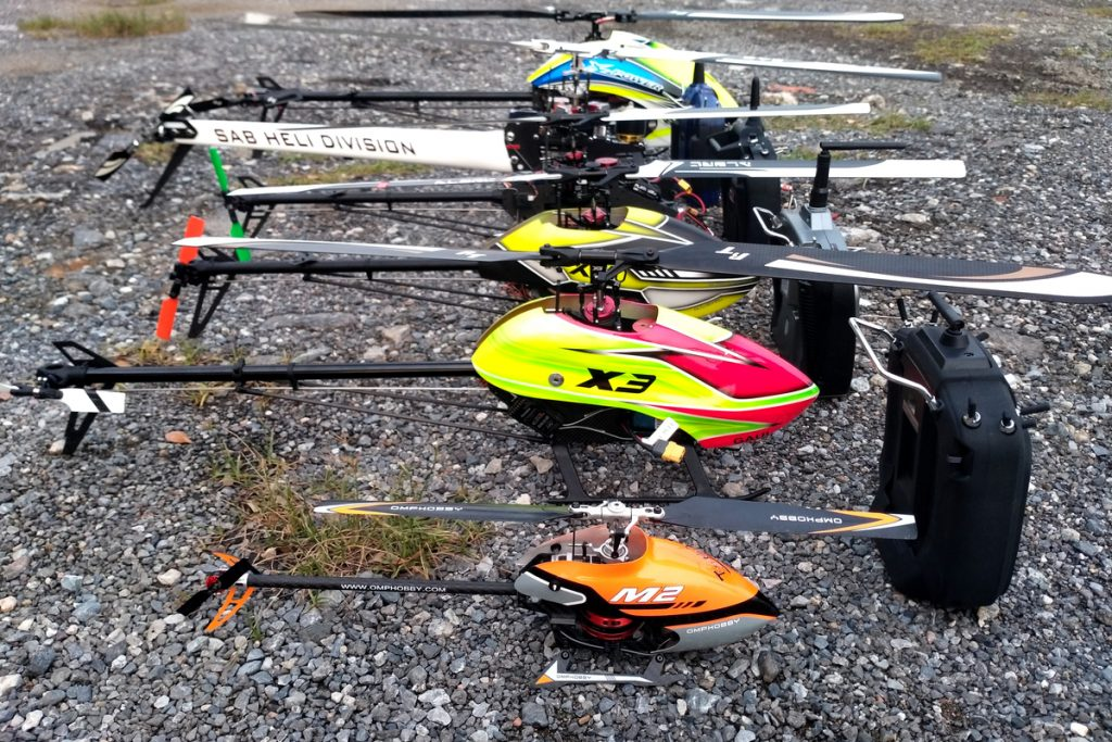 RC Helicopters on the ground