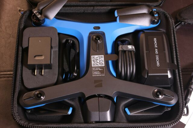 Skydio 2 drone and its accessories in the box.