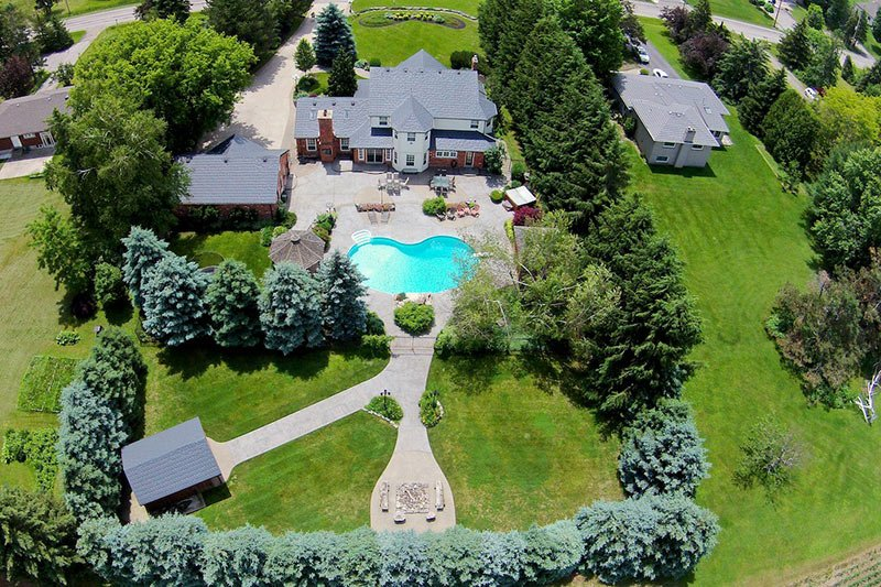 Aerial shot of real estate property with a pool.