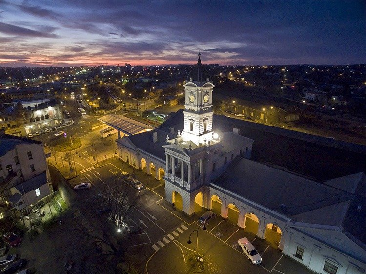 Aerial shot taken from drone during night time