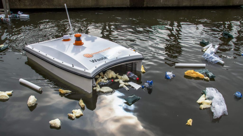 An aqua drone cleaning all the waste from water.