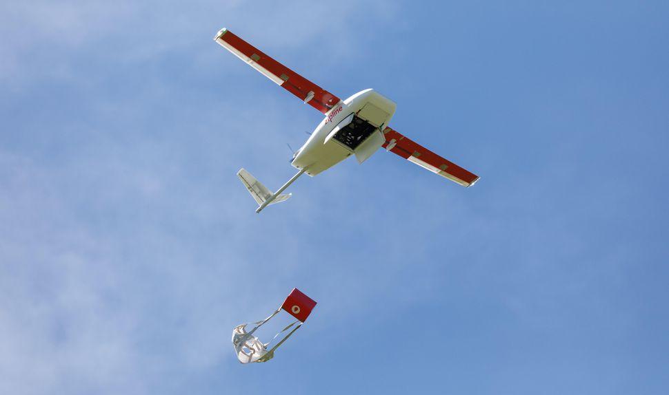 Zipline drone delivering medicine