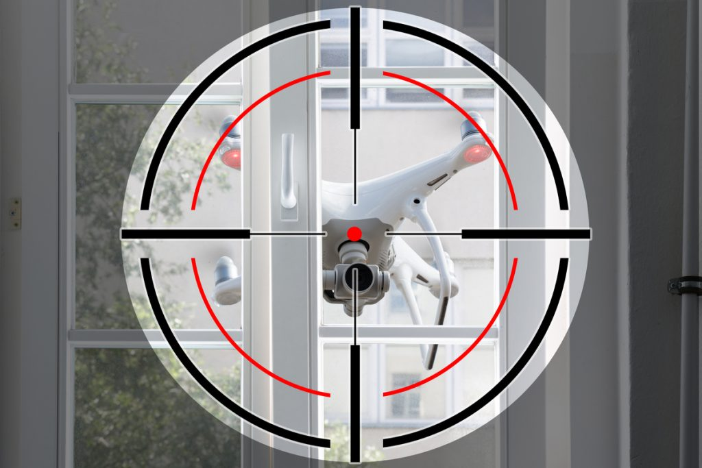 Drone targeted at a gun point