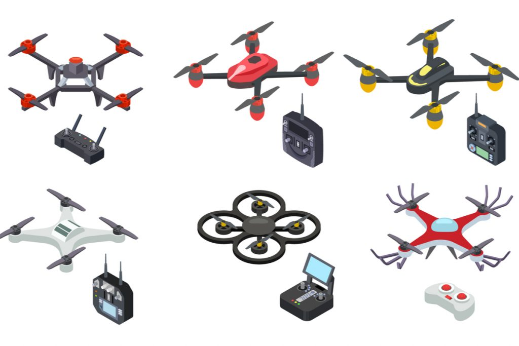 Unmanned aircrafts drones with controllers vector illustration