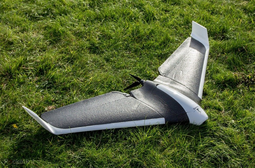 Parrot Disco FPV Drone lying on the grass.